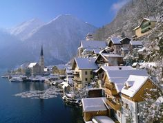 Hallstatt austria town country winter house mountain water n Places Around The World, Oh The Places You'll Go, Around The Worlds, Hallstatt, Mountain City, Christmas In Europe, Cottage, Winter House, Honeymoon Destinations