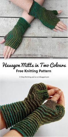 Hexagon Mitts in Two Colours - Free Knitting Pattern by Knitting and so on