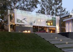 Gorgeous Green Modern Beverly Hills Home With A Bowling Alley That Has An Underground View of The Pool. - if it's hip, it's here Ultra Modern Homes, Residential Architecture, Interior Architecture, Architecture Moderne, Modern House Design, Minimalist Home, Summit House, Modern Exterior, Interior Exterior