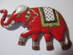 RED COLORFUL SIAMESE ENAMEL DECORATED CIRCUS ELEPHANT PIN BRASS in Jewelry & Watches, Vintage & Antique Jewelry, Costume, Retro, Vintage 1930s-1980s, Pins, Brooches | eBay