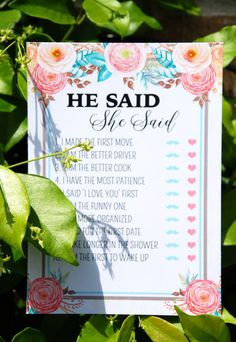Free Floral Bridal Shower Printable Set - includes 2 free printable games and a banner on prettymyparty.com.