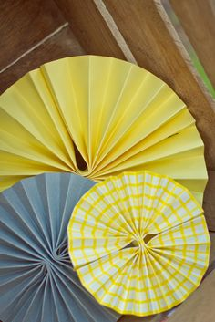 Schenk Sightings: You Are My Sunshine {Party Details}. Paper fans are really easy to make. We can make them in varying sizes.