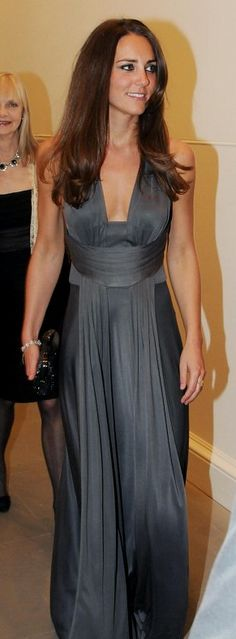 Kate Middleton in grey Issa gown. This is the same Issa who designed her proposal announcement dress.