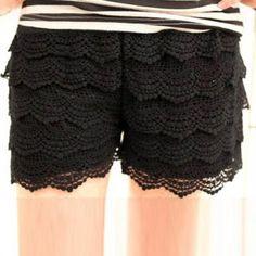 Wholesale Stylish Lovely Delicate Lace Embellished Openwork Shorts For Women (BLACK,FREE SIZE), Shorts - Rosewholesale.com