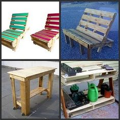 pallets made into misc furniture ... esp like the potting pench, tall table