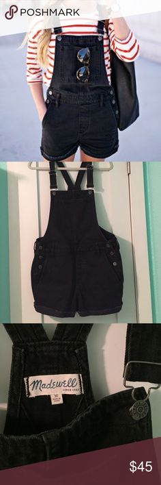 NWOT Madewell black overalls shorts Casual cute! Black cuffed shorts overalls. Medium, loose fit like a 27/28. Perfect condition Madewell Jeans Overalls