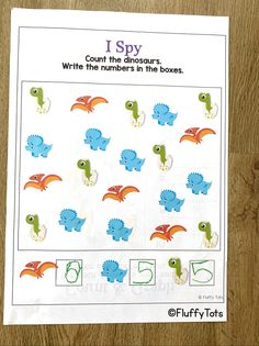 Dinosaur counting printable activities for preschool and kindergarten kids. Just print and you're ready in no time! Adorable Dinosaurs ready to excite your little ones! Dinosaur Printables, Dinosaur Activities, Counting Activities, Math Games, Learning Numbers Preschool, Subtraction Activities, Dinosaurs, Homeschooling, Kindergarten