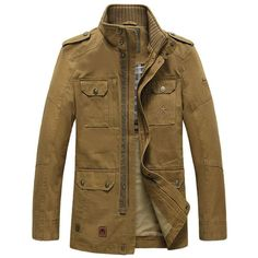 Winter Mens Military Multi-pocket Coat Stand Collar Casual Cotton Jacket - Gchoic.com