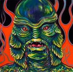 Creature From The Black Lagoon Pinstriped Flames Pop Culture Open Edition Art Print Signed Chris Wakefield
