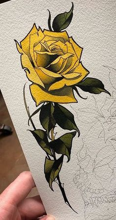 Fantastic Free of Charge yellow rose drawing Concepts During this lessons, we're going to look into just how to draw in your increased by having pastels. Were making use o Neo Traditional Roses, Neo Traditional Tattoo, American Traditional, Tattoo Sketches, Tattoo Drawings, Yellow Rose Tattoos, Yellow Tattoo, Tattoo Fleur, Tattoo Bauch