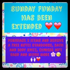 Promotion extended !!! With purchase of two or item, receive a free gift from me. Starbuck. Express. Bath and body, jewelry and many more! Don't miss your chance  Other