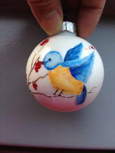 Handpainted ornament whit one stroke bird