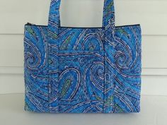 Navy Medium Blue Green Black White Paisley Print Quilted Purse by RoxannasBags on Etsy