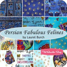 Persian Fabulous Felines Fat Quarter Bundle Laurel Burch for Clothworks Fabrics - Fat Quarter Shop