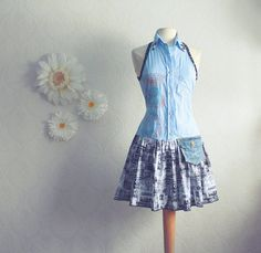 Womens upcycled, bohemian, blue, black and white, drop waist dress in size small. One-of-a-kind, eco-friendly clothing for women, plus size