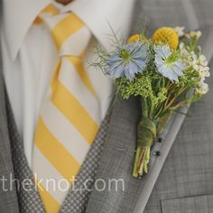 Striped ties, only pale pink! I'd change the little blue flower to pale pink.