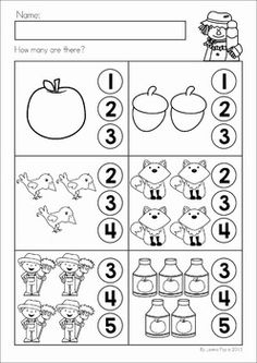 Autumn / Fall Math No Prep Worksheets & Activities by Lavinia Pop Preschool Writing, Numbers Preschool, Fall Preschool, Preschool Learning Activities, Counting Activities, Printable Preschool Worksheets, Kindergarten Math Worksheets, Kindergarten Prep, Math For Kids
