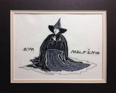 Wizard of Oz - I'm Melting Witch - Embroidery Design - Machine Embroidery Designs from Picturestitch Hand Embroidery Patterns Flowers, Border Embroidery, Free Machine Embroidery Designs, Embroidery Files, Embroidery Stitches, Halloween Embroidery, Cross Stitch Patterns, Pattern Design, How To Draw Hands
