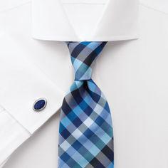 Moore blue multi check handmade tie | Men's handmade ties from Charles Tyrwhitt | CTShirts.com