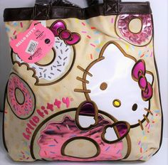 Loungefly Hello Kitty Donut Tote Bag Applique Purse Sanrio Natural Color New #Loungefly #TotesShoppers