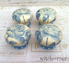 Wooden door knob  Blue Roses  45 mm  Drawer knob by witchcorner, £5.00