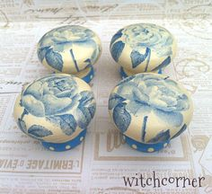 Decoupage door knobs using napkins                                                                                                                                                      More