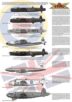 This high resolution Info-graphic Poster of the AVRO Lancaster family from the original Manchester to the Shackleton AEW2. The poster includes the Manchester, Lancaster, Lancastrian, York, Lincoln, York, Shackleton MR1 and Shackleton AEW2 aircraft.  The Manchester was a twin engined bomber. The Lancaster was the four engined version of the Manchester and was the mainstay of Bomber Command during World War 2.