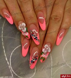 These would be cuter with NORMAL acrylics Fabulous Nails, Perfect Nails, Gorgeous Nails, Stylish Nails, Trendy Nails, Cute Nails, Nail Art Designs Videos, Nail Designs, Airbrush Nails