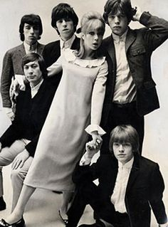 Pattie Boyd wearing Mary Quant with the Rolling Stones by John French 1964