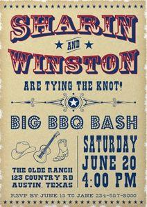 """Invitacion de bodas estilo """"Western"""""""