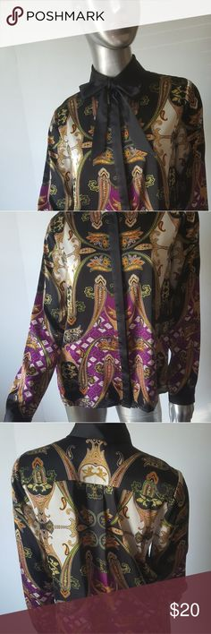 """Gorgeous VINCE CAMUTO Multicolor Blouse Size XS Captivating print Good condition Detailed with removable neck tie Very versatile and practical as it easily wears day to evening  Color: Black, Berry,Green,Gold/Orange & Cream Fabrication: 97%Silk Polyester 3% Spandex Measurements: Chest=17.5"""" Length=24""""  FEEL FREE TO CONTACT ME WITH ANY QUESTIONS PRIOR TO PURCHASE Vince Camuto Tops"""