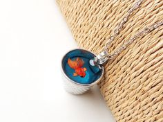 Goldfish Thimble Necklace Whimsical Diorama Fish by JustKJewellery