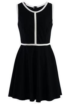 9995619584 Black Flare Dress with Contrast Trim   Black Flare Dress