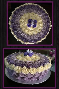 Ube-Macapuno Ombre Cake topped with Fondant Roses