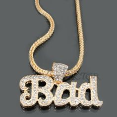 "Basketball Wives, Love & Hip Hop Atlanta Rasheeda, Rihanna Celebrity Inspired 20""L Gold and Crystal Bad Necklace Lola Fashion Accessories. $15.99. Crystal. Necklace: 20""L, Pendant: 3 1/2"" W by 2 1/4"" L. Lobster clasp closure. Ships in 1 business day. Gold tone. Save 70%!"