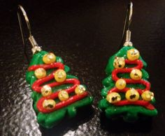 Christmas Tree Earrings made with Sculpey clay by sweetiesbyrobyn, $6.00