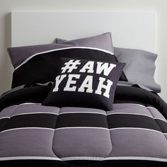 Black and Gray guys dorm room comforter. Twin XL bedding and sheets. Great for guys who are wanting a dapper look. See more guy dorm bedding at www.dormitup.com
