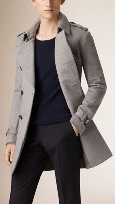 Burberry Pale Grey Melange Mid-Length Wool Cashmere Trench Coat - A refined trench coat in a warm blend of felted wool and cashmere. Inspired by traditional tailoring, the coat is finished with sartorial pick-stitch detail. Discover the men's outerwear collection at Burberry.com