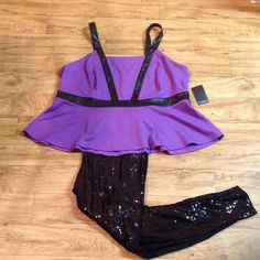 Eloquii Bustier Top Purple bustier with black leather-like straps. Never worn. Eloquii Tops