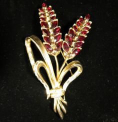 Coro Signed Brooch Classic Vintage Gold Tone Red Navette Rhinestone Floral   eBay