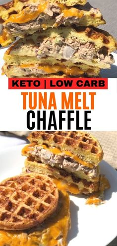 This recipe is made with cheddar cheese an… Easy keto tuna melt chaffle sandwich. This recipe is made with cheddar cheese and tuna salad between 2 chaffles for a delicious low carb meal idea! Low Carb Lunch, Low Carb Dinner Recipes, Low Carb Desserts, Low Carb Keto, Keto Dinner, Keto Foods, Ketogenic Recipes, Keto Recipes, Ketogenic Diet