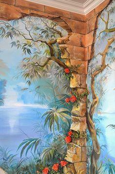 Door Murals, Mural Wall Art, Diy Wall Art, 3d Wall Painting, House Painting, Bathroom Mural, Sidewalk Art, Murals Street Art, Applis Photo