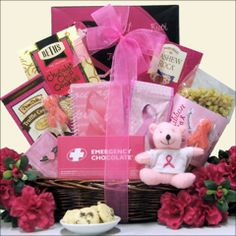 A pretty gift basket filled with treats and cute inspirational items from greatarrivals.com.All put together with a pretty pink ribbon and finished off with a teddy bear. $59.00 at: www.greatarrivals.com