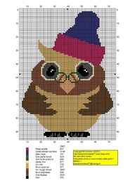 This lovely guy would make a great book bag for a teacher Cross Stitch Owl, Just Cross Stitch, Cross Stitch Animals, Cross Stitch Charts, Cross Stitch Designs, Cross Stitching, Cross Stitch Embroidery, Embroidery Patterns, Cross Stitch Patterns