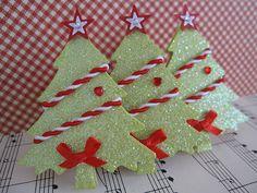 Gree Glittery Christmas Trees by vsroses.com, via Flickr
