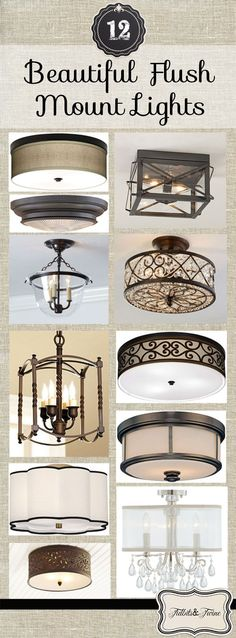 Tidbits & Twine: A look at 12 moderately priced and beautiful flush mount light fixtures!  Links and photos included. #ceilinglights #lightfixtures #beautifullights