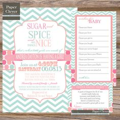 SUGAR & SPICE Baby shower invitation BUNDLE,mint, coral, pink - digital file, printable #712 on Etsy, $23.00