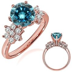 1.18 Carat Blue Diamond Engagement Wedding Anniversary Halo Bridal Ring 14K Rose Gold ** You can get more details by clicking on the image. (This is an affiliate link and I receive a commission for the sales)