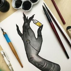 Inktober day 08// Felix Felicis⚡️ Today I thought I'd draw another hand similar to some that I did for inktober last year, except dark and creepy✨ today I used daler rowney ink, kuretake menso brush, speedball 512 nib, uniball signo white pen, and gold glitter! I might do a few more of these, hands are so much fun to draw! . #inktober #inktober2016 #witch #witchesofinstagram #illustration #jacquelindeleon #artistsoninstagram #hand #henna