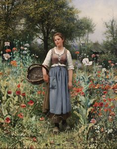 "Daniel Ridgway Knight  (1839 - 1924)  ""Among the Poppies""  Oil on canvas  32 1/2 x 26 inches  Signed and inscribed Paris"